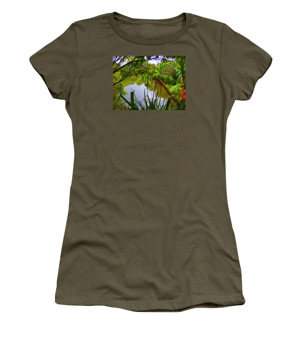 Jungle Garden Botanical Garden Women's T-Shirt featuring the photograph Jungle Garden View by Sheri McLeroy