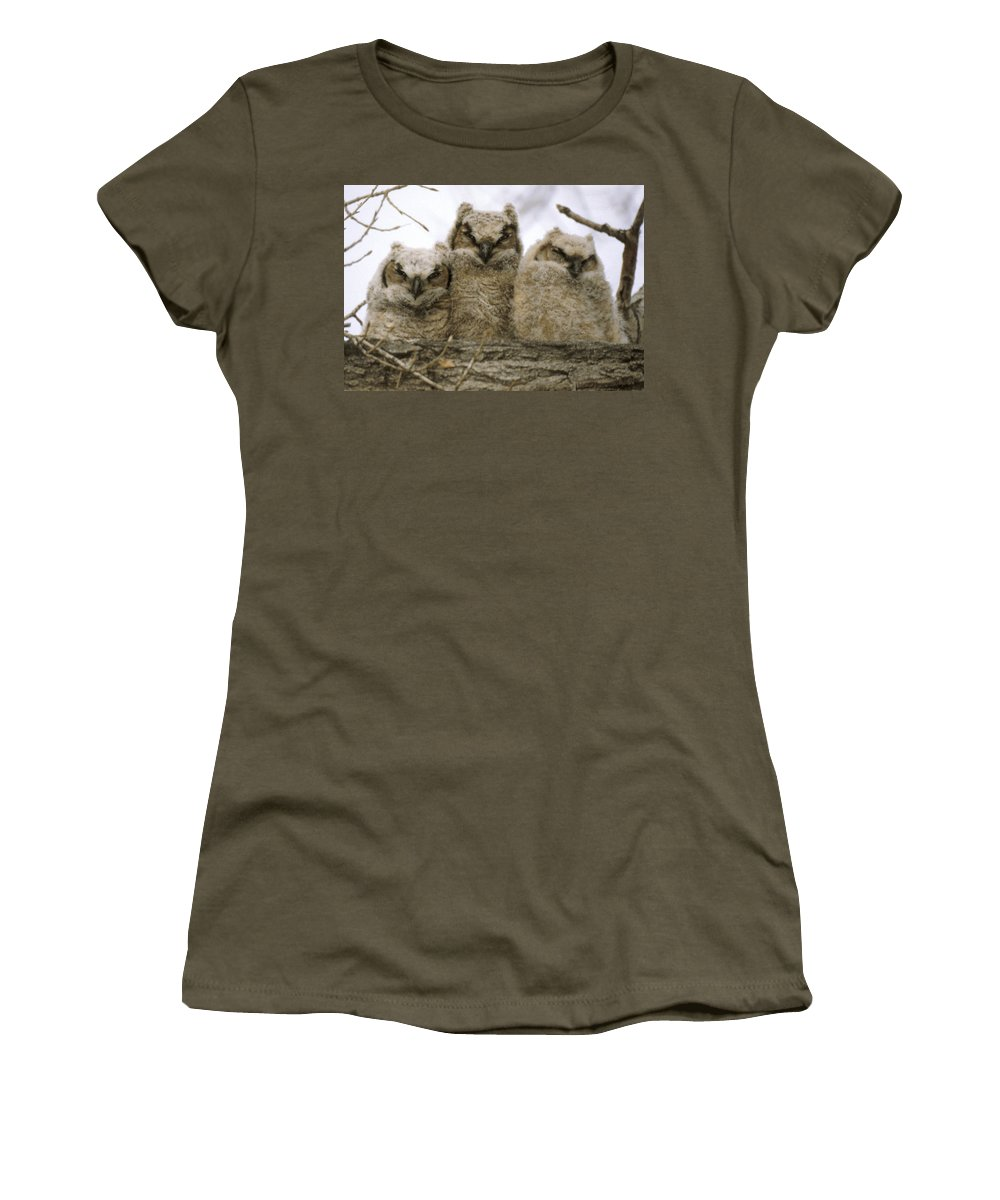 Owls Women's T-Shirt (Athletic Fit) featuring the photograph Just Babies by Jerry McElroy