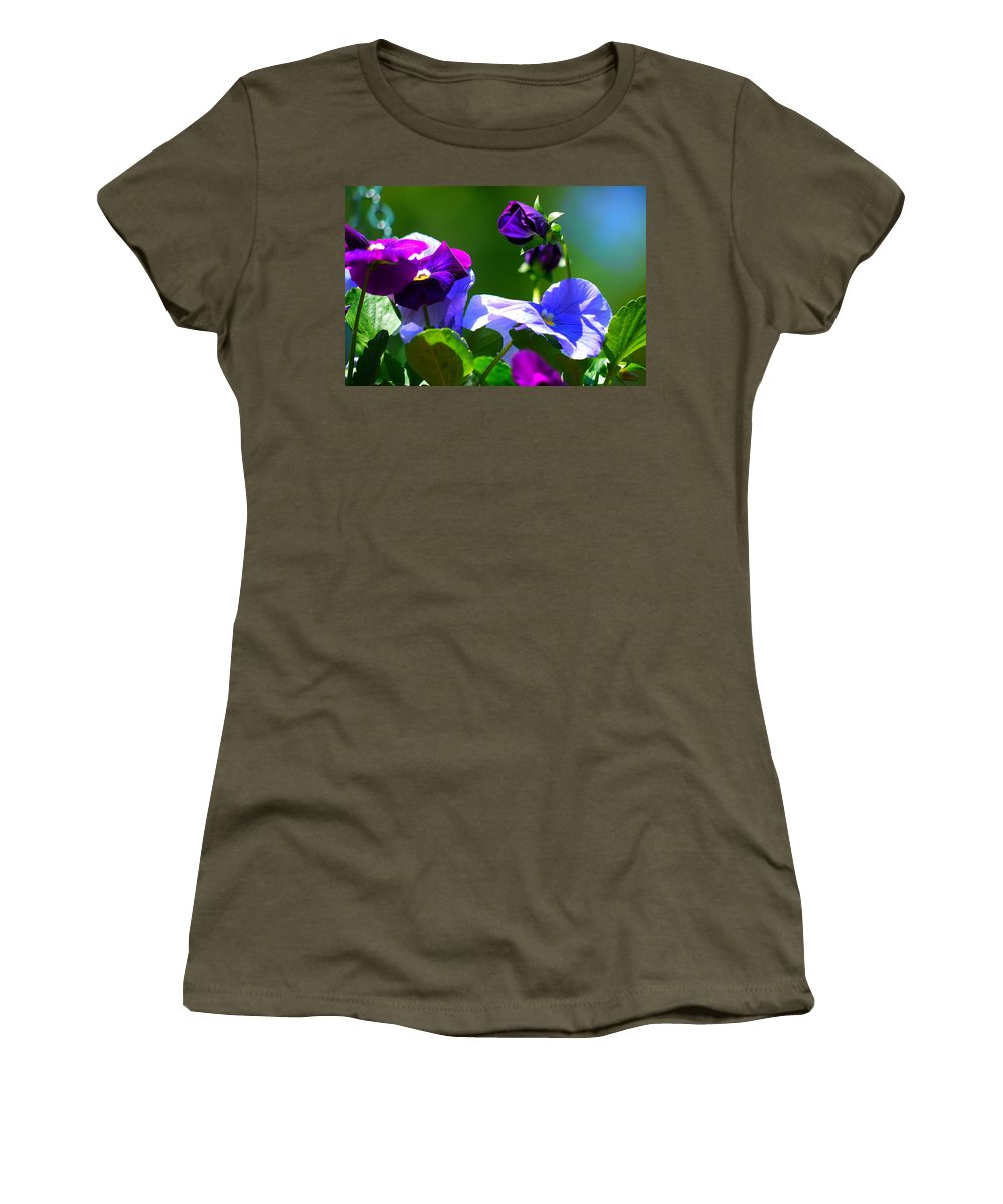 Pansy Women's T-Shirt featuring the photograph Just Pansy by Nancie DeMellia