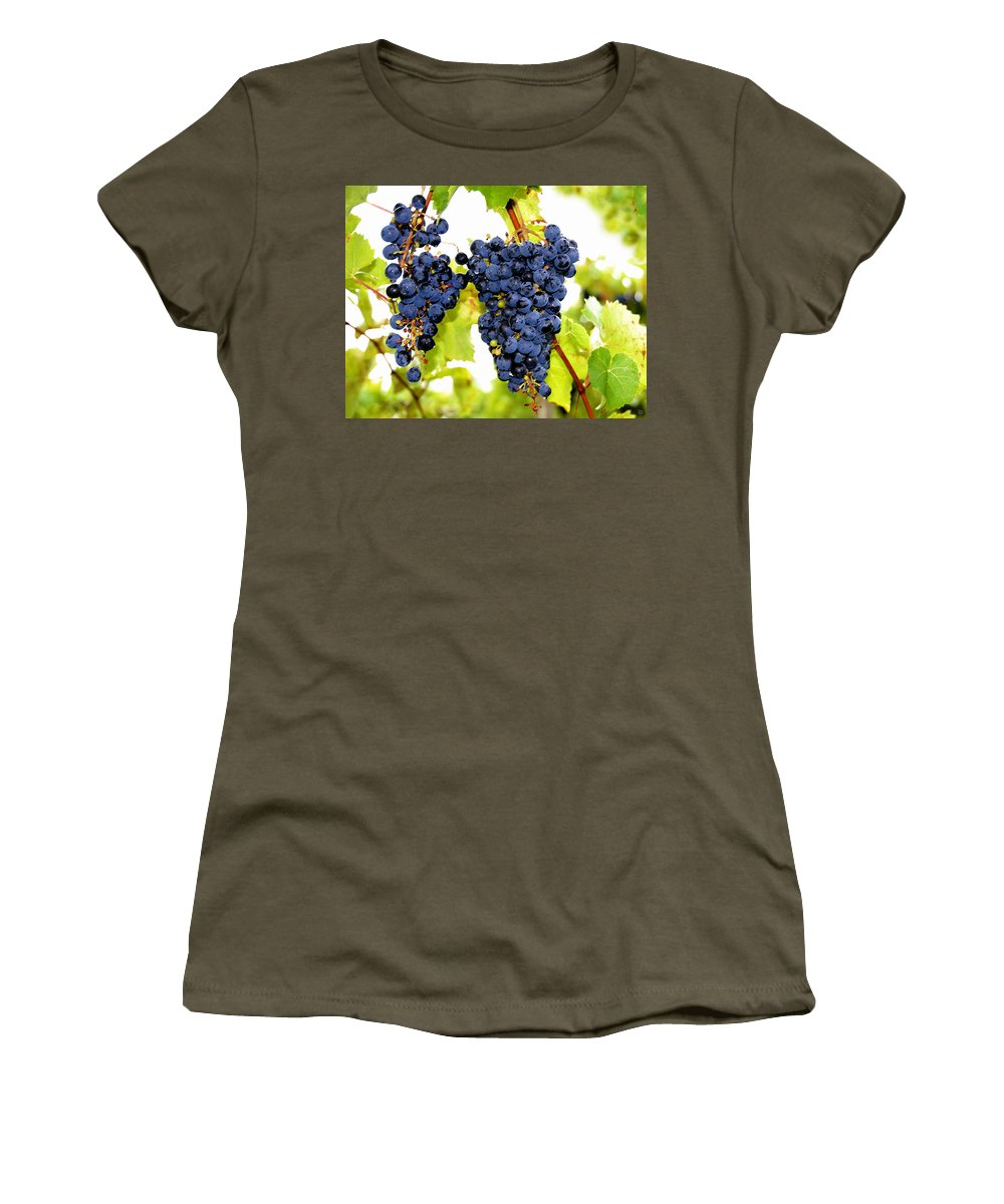Grapes Women's T-Shirt featuring the painting Just Ripe by David Lee Thompson