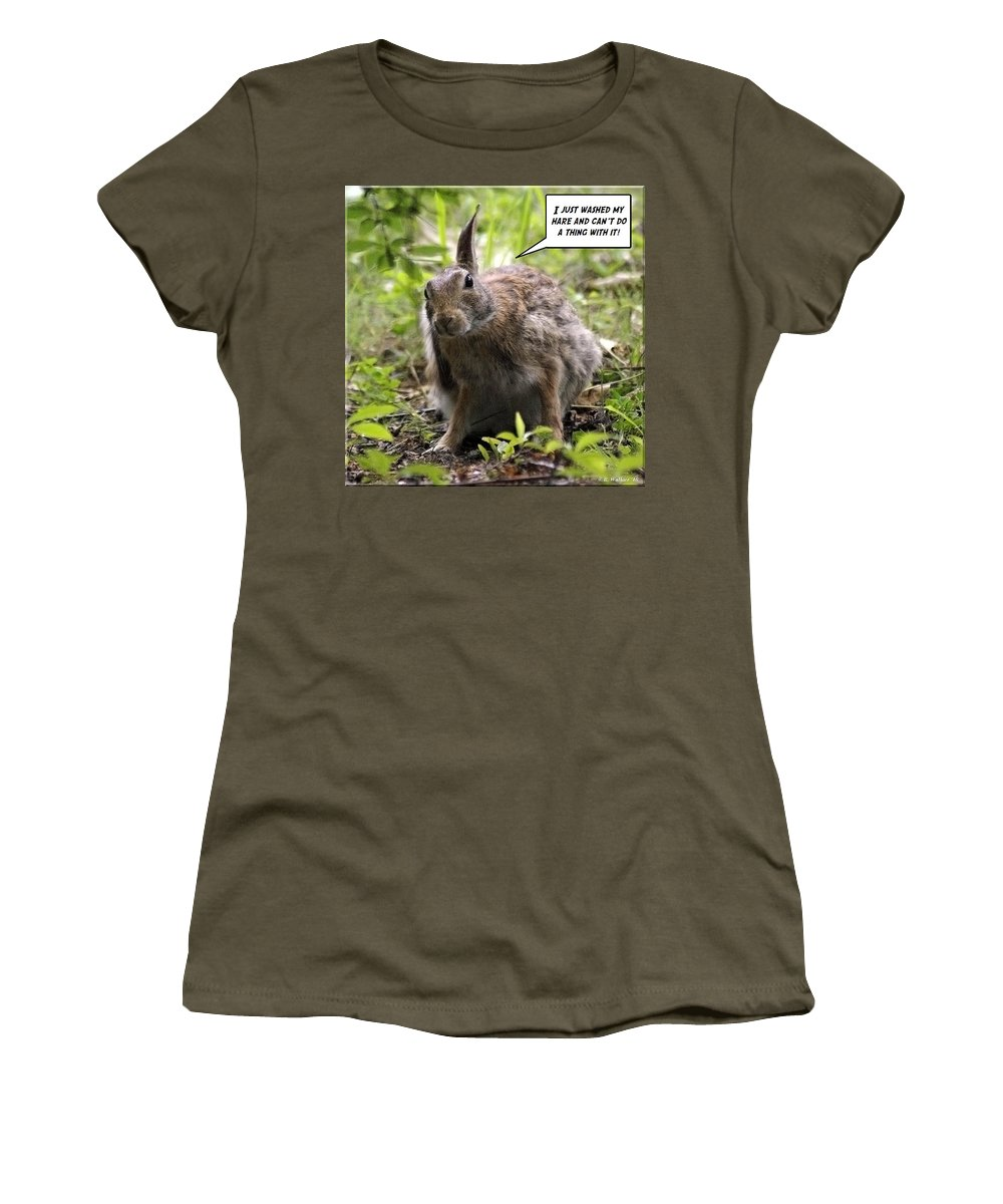2d Women's T-Shirt featuring the photograph Just Washed My Hare by Brian Wallace