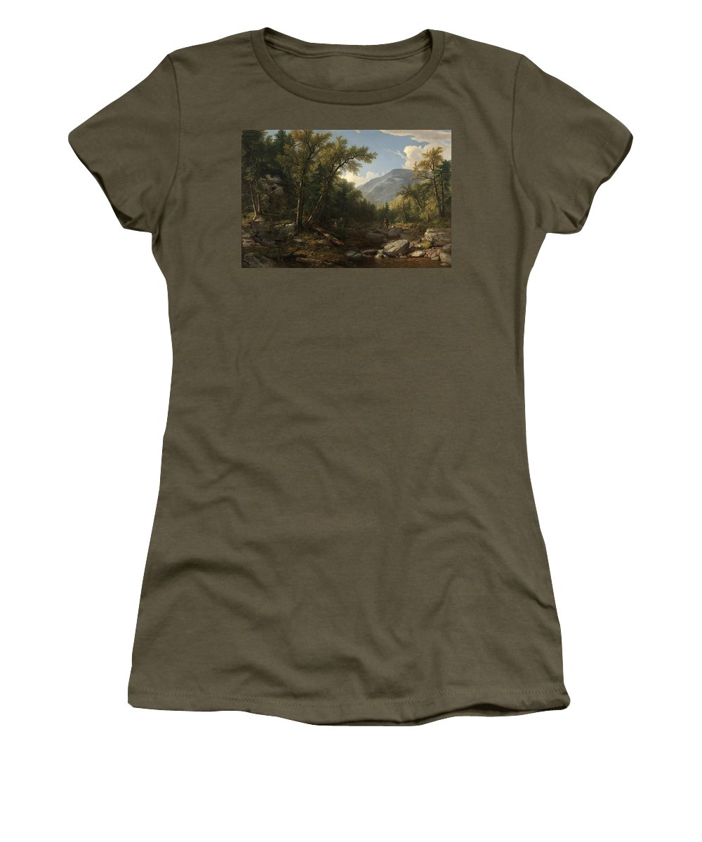 Kaaterskill Clove By Asher Brown Durand 2 Women's T-Shirt (Athletic Fit) featuring the painting Kaaterskill Clove by Asher Brown Durand