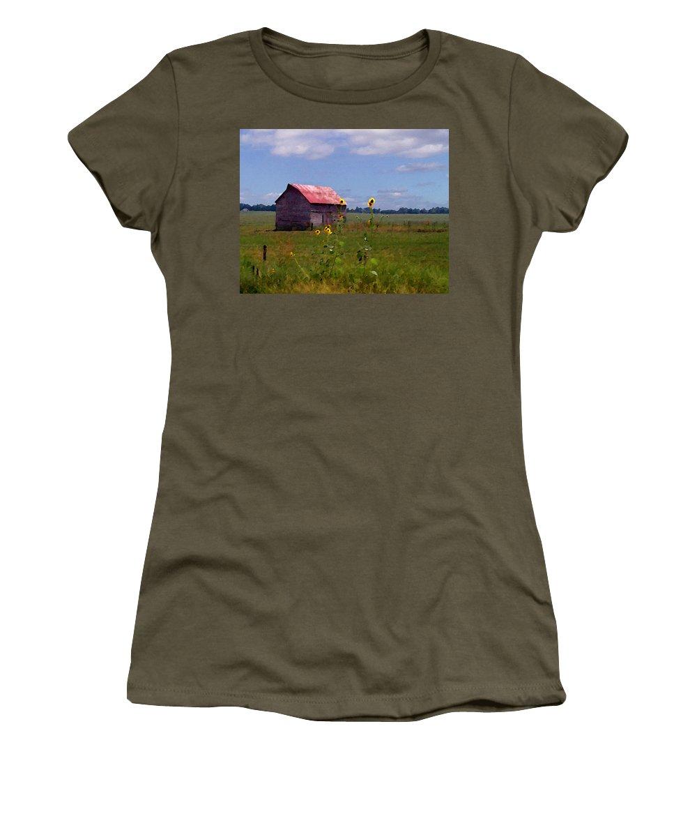 Lanscape Women's T-Shirt (Junior Cut) featuring the photograph Kansas Landscape by Steve Karol