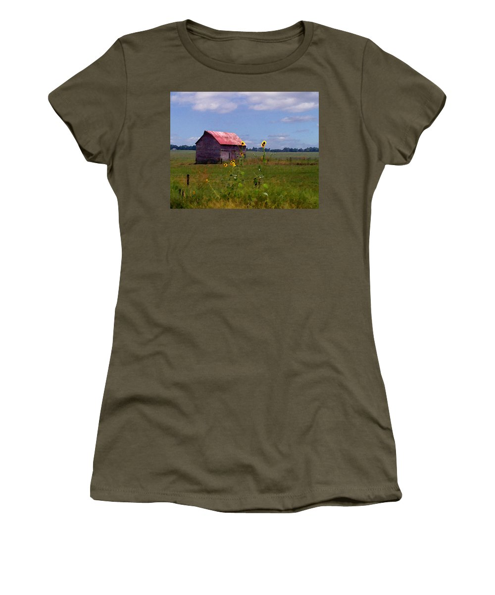 Lanscape Women's T-Shirt (Athletic Fit) featuring the photograph Kansas Landscape by Steve Karol