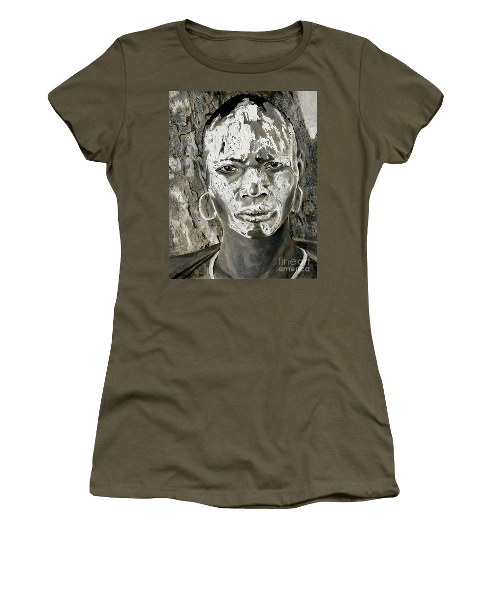 Tribal Art Women's T-Shirt featuring the painting Karo Man by Portraits By NC