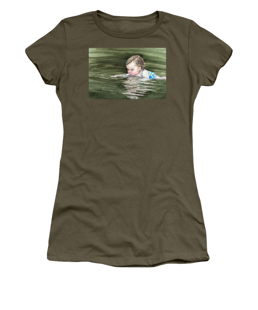 Child In River Women's T-Shirt (Athletic Fit) featuring the painting Katie Wants A River Rock by Sam Sidders