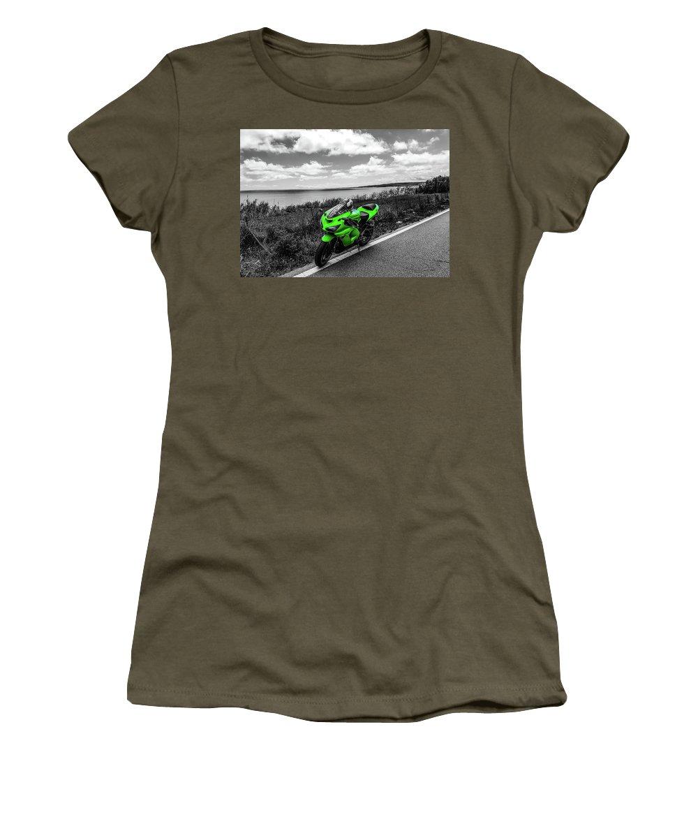 Pretty Women's T-Shirt featuring the photograph Kawasaki Ninja Zx-6r 2 by Andrea Mazzocchetti