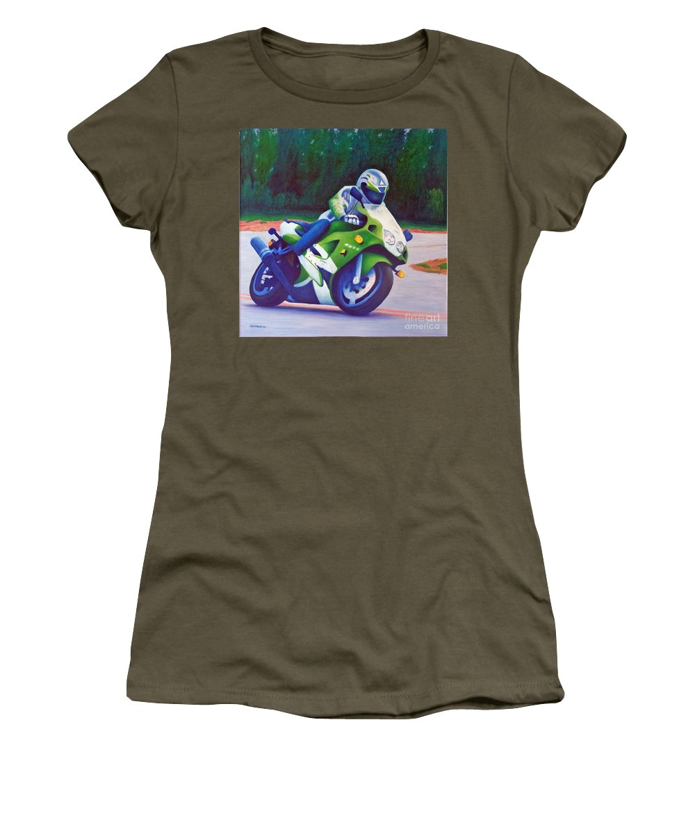 Motorcycle Women's T-Shirt (Athletic Fit) featuring the painting Kawasaki Zx7 - In The Groove by Brian Commerford