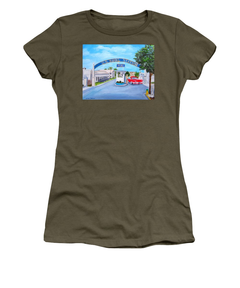 Navy Women's T-Shirt featuring the painting Key West U.s. Naval Station by Linda Cabrera