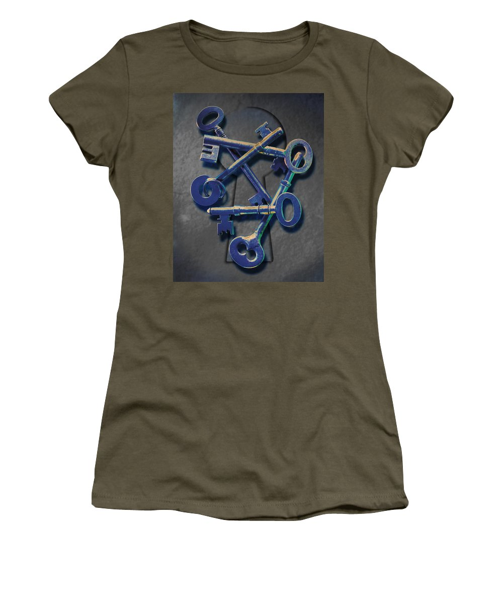 Antique Keys Women's T-Shirt featuring the photograph Keys by Kelley King