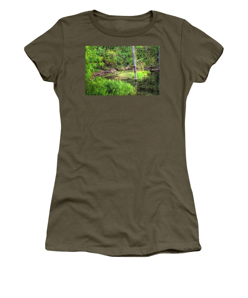 Hdr Women's T-Shirt (Athletic Fit) featuring the photograph Kill Creek 8388 by Timothy Bischoff
