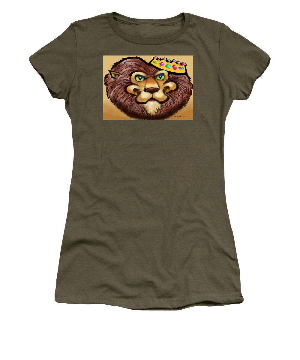 Lion Women's T-Shirt featuring the digital art King by Kevin Middleton