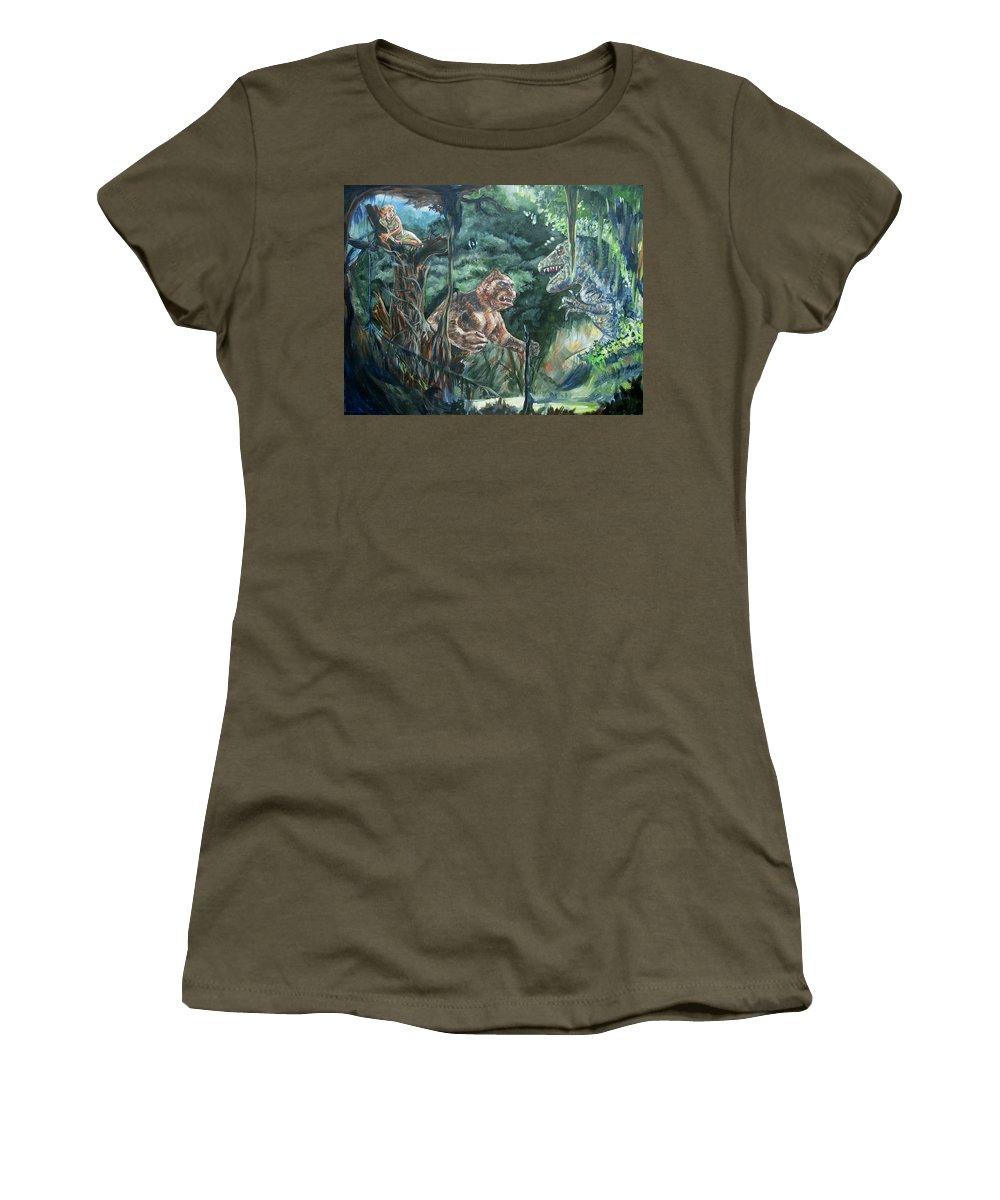 King Kong Women's T-Shirt featuring the painting King Kong Vs T-rex by Bryan Bustard