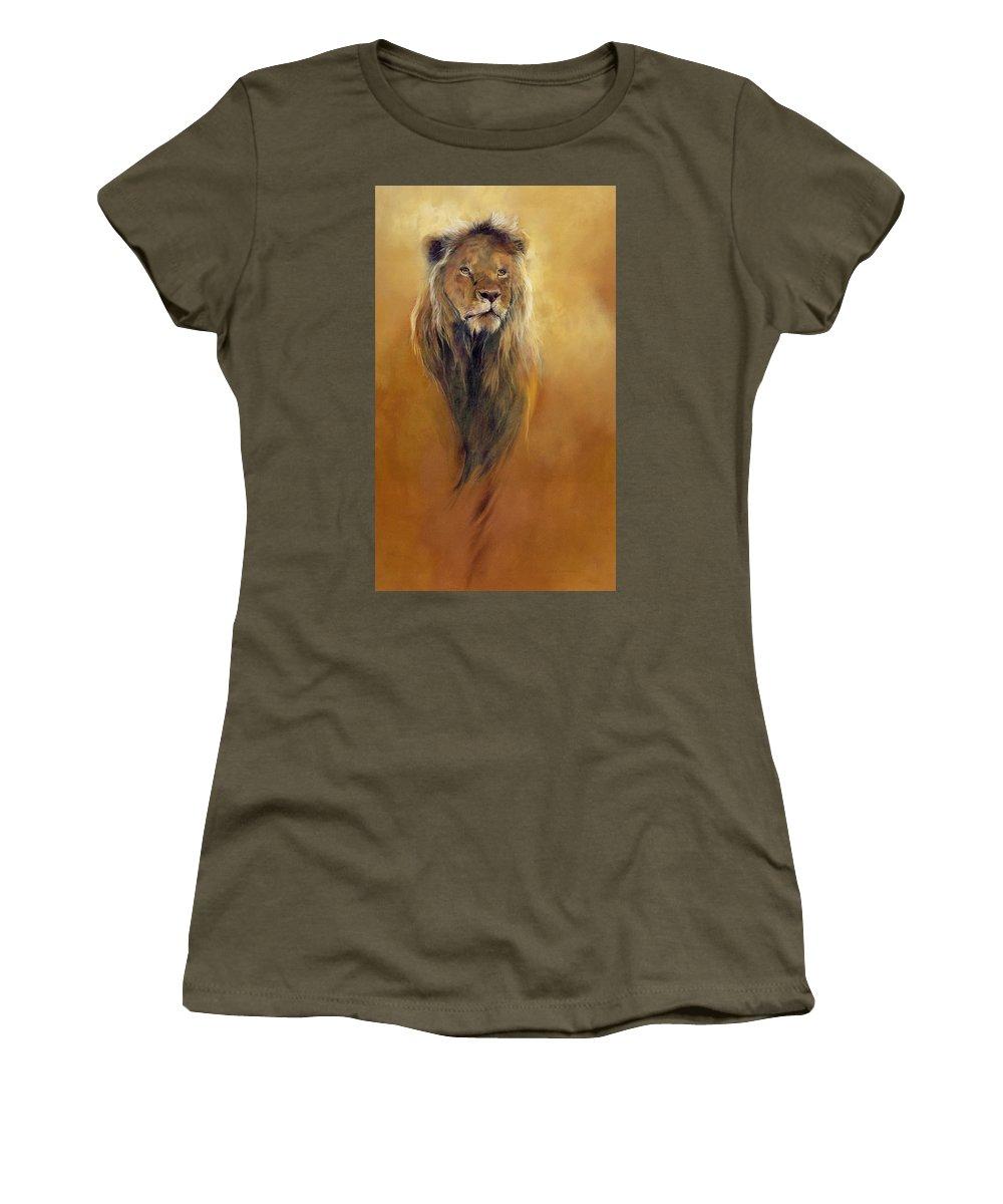 Animal; Furry; Lion; Wild Animal; Predator: King: Leo Women's T-Shirt featuring the painting King Leo by Odile Kidd