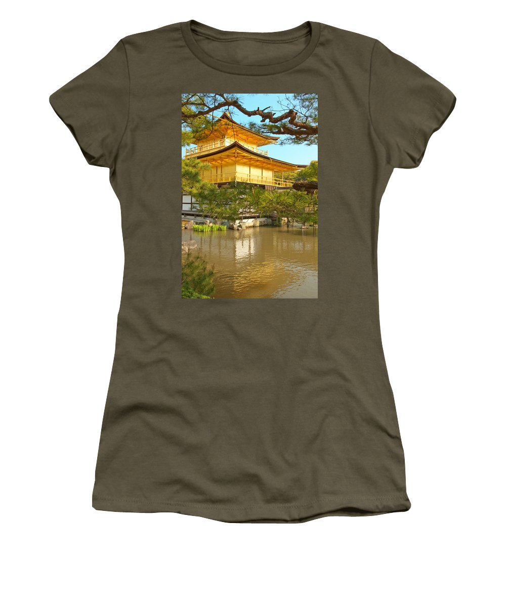 Japan Women's T-Shirt (Athletic Fit) featuring the photograph Kinkakuji Golden Pavilion Kyoto by Sebastian Musial