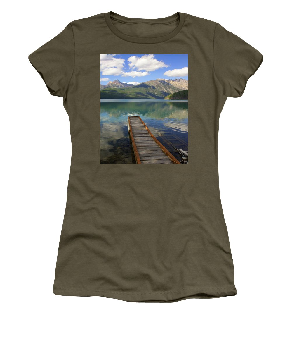Glacier National Park Women's T-Shirt featuring the photograph Kintla Lake Dock by Marty Koch