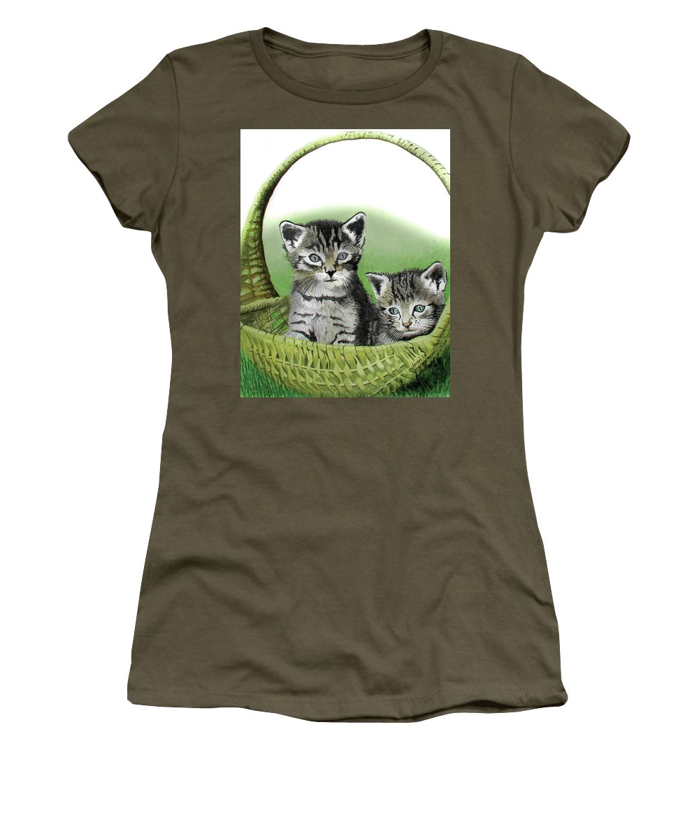 Cat Women's T-Shirt (Athletic Fit) featuring the painting Kitty Caddy by Ferrel Cordle
