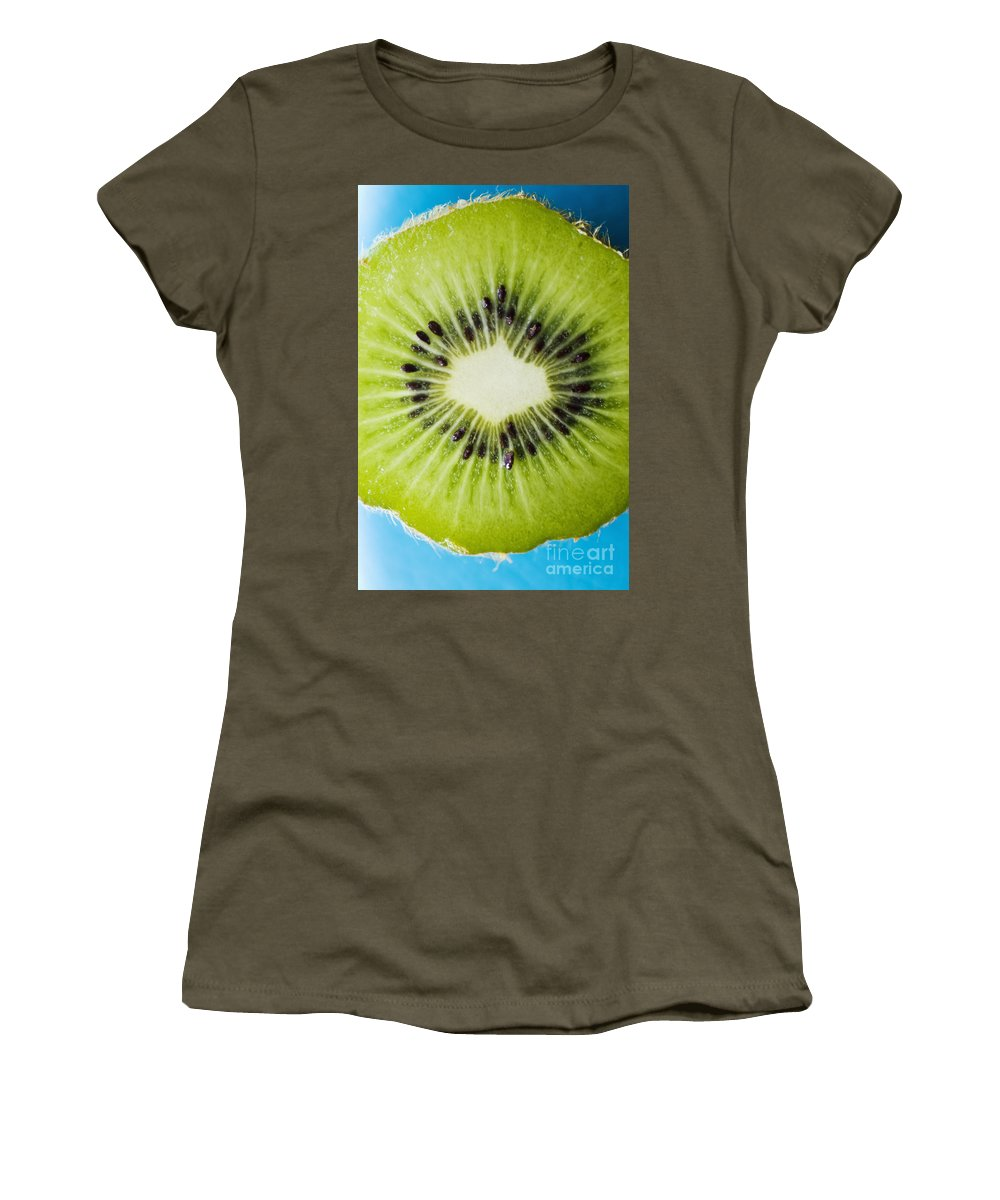 Asian Women's T-Shirt featuring the photograph Kiwi Cut by Ray Laskowitz - Printscapes