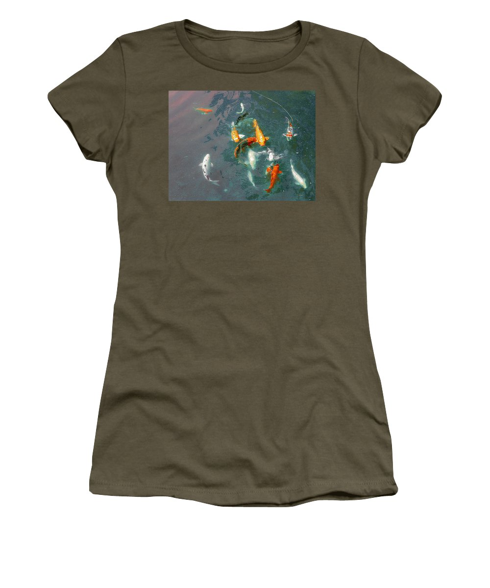 Koi Women's T-Shirt (Athletic Fit) featuring the photograph Koi Symphony 1 Stylized by Anne Cameron Cutri