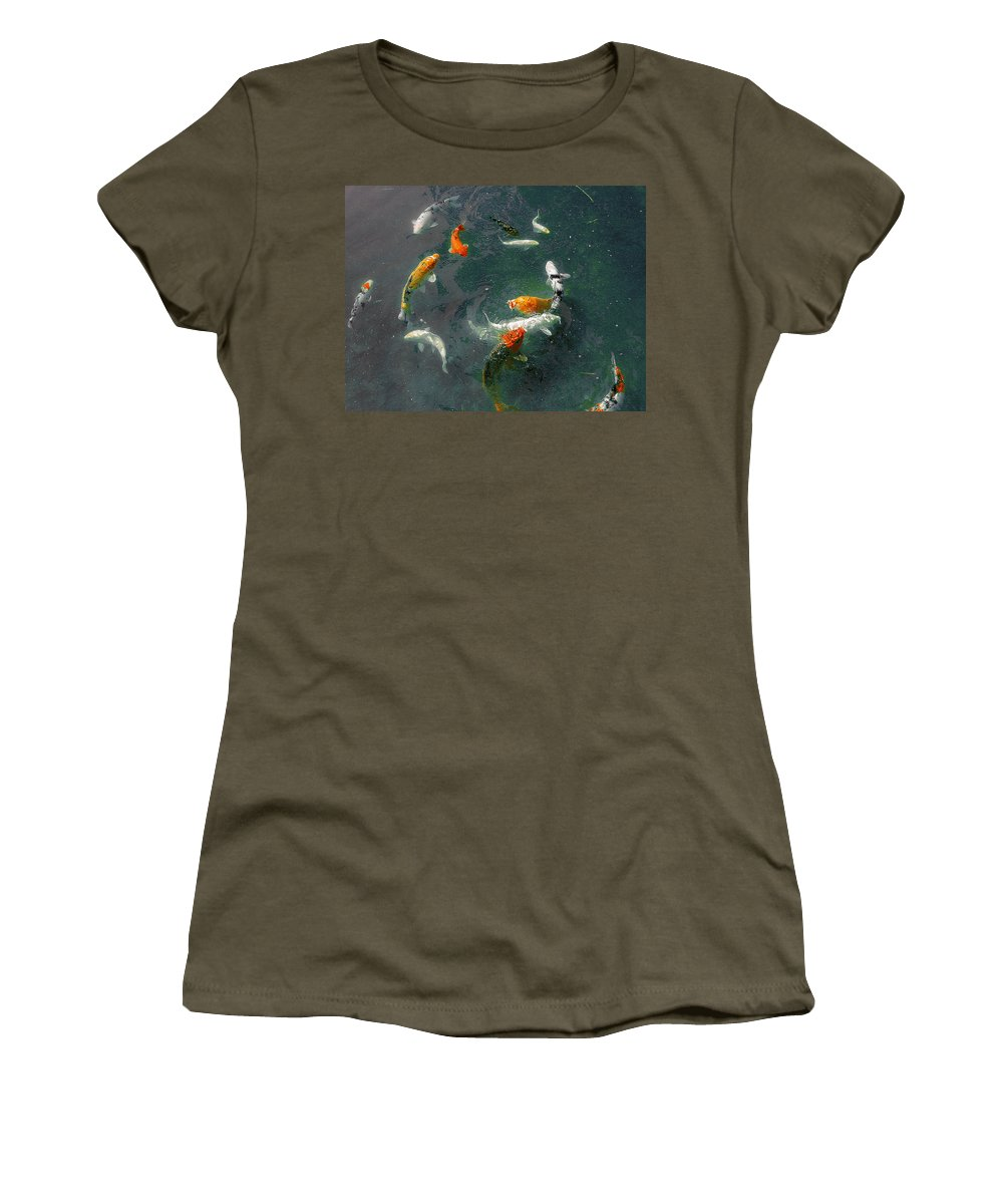 Koi Women's T-Shirt featuring the photograph Koi Symphony 2 Stylized by Anne Cameron Cutri