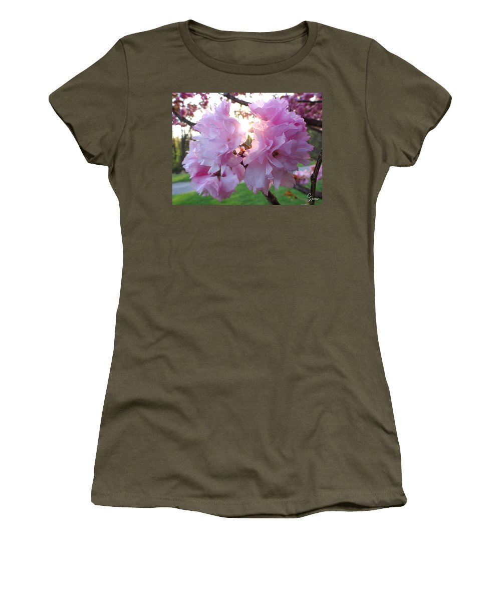 Kwanzan Women's T-Shirt (Athletic Fit) featuring the photograph Kwanzan Cherry Blossom by Christopher Spicer