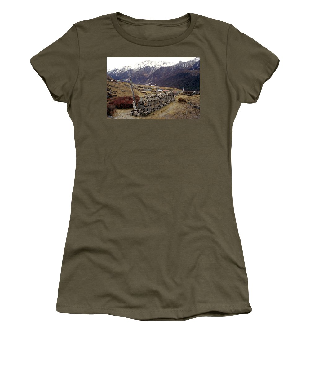 Langtang Women's T-Shirt (Athletic Fit) featuring the photograph Kyanjin Gompa by Patrick Klauss