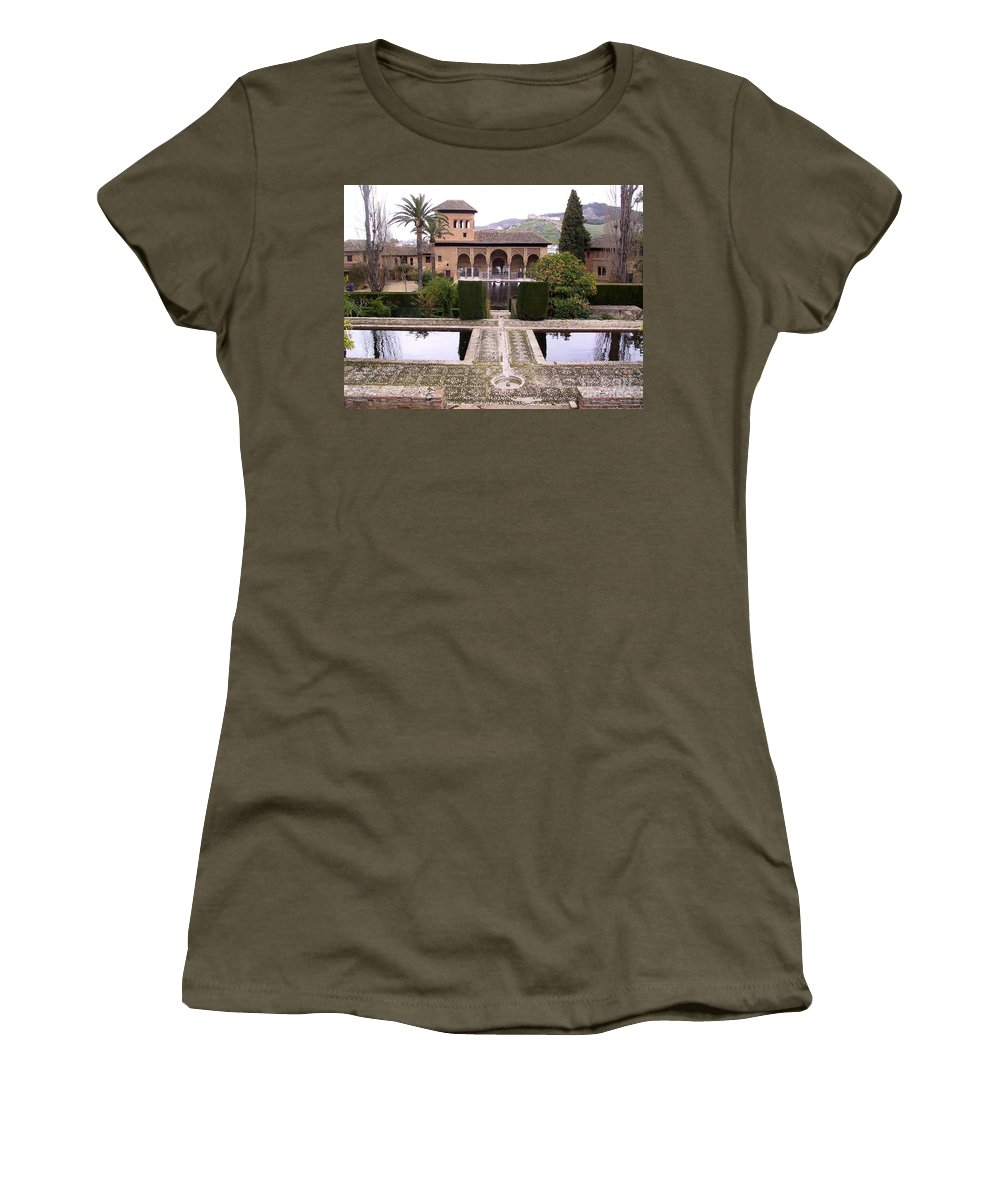 Alhambra Women's T-Shirt featuring the photograph La Alhambra Garden by Thomas Marchessault