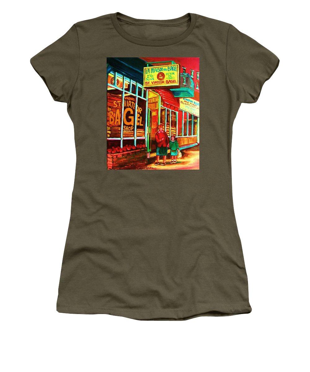 Montreal Women's T-Shirt (Athletic Fit) featuring the painting La Maison Du Bagel by Carole Spandau