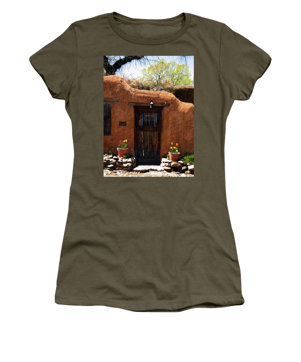 Door Women's T-Shirt featuring the photograph La Puerta Marron Vieja - The Old Brown Door by Kurt Van Wagner