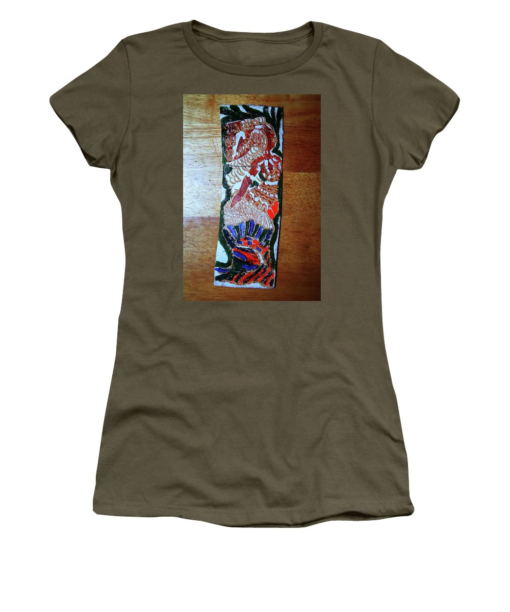 Jesus Elohimplaquesmamamama Africa Twojesus Women's T-Shirt (Athletic Fit) featuring the ceramic art Ladies Await 10 by Gloria Ssali