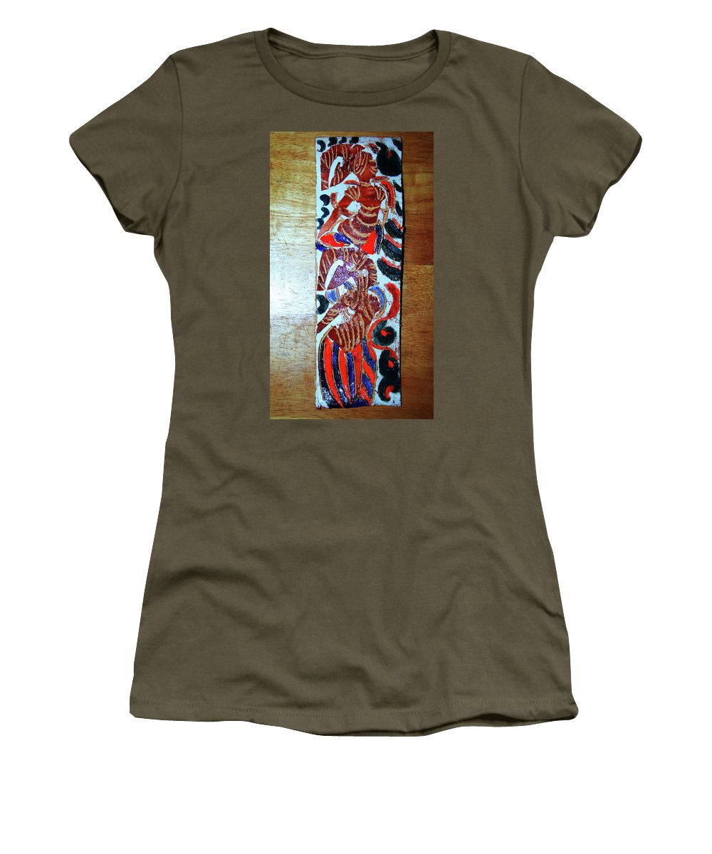 Plaquesmamamama Africa Twojesus Women's T-Shirt (Athletic Fit) featuring the ceramic art Ladies Await 11 by Gloria Ssali