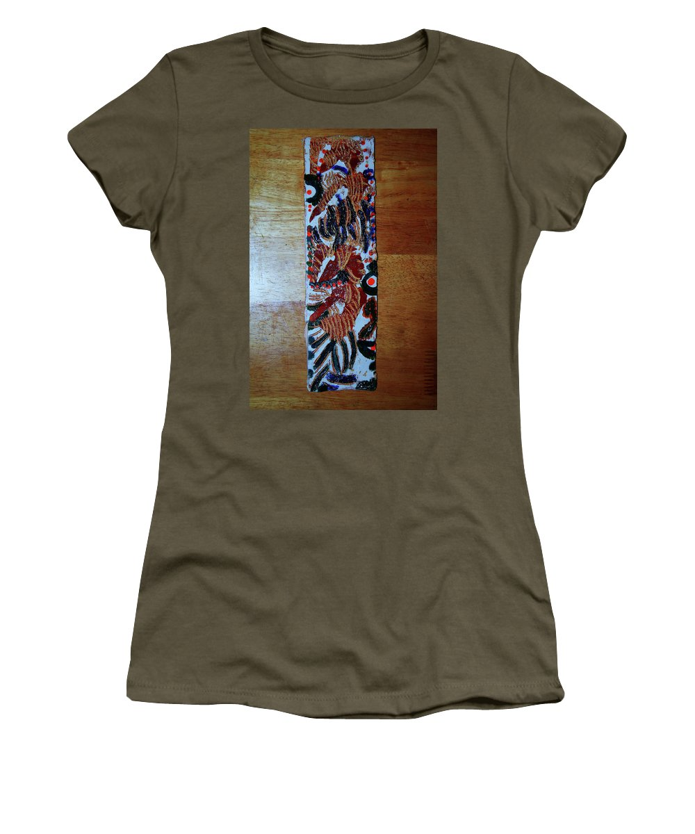 Jesus Elohimplaquesmamamama Africa Twojesus Women's T-Shirt (Athletic Fit) featuring the ceramic art Ladies Await 2 by Gloria Ssali