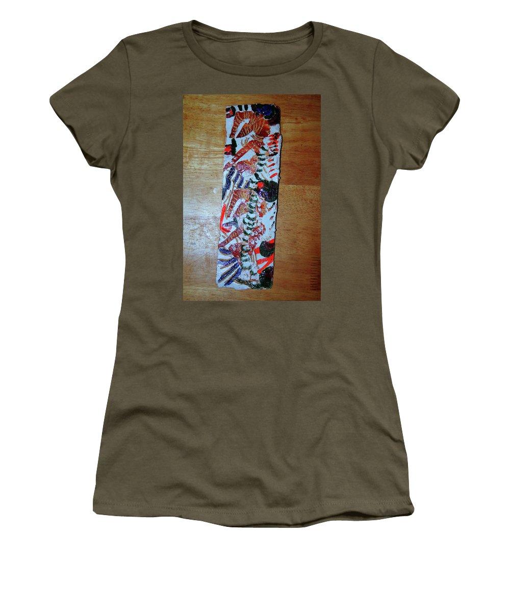 Jesus Elohimplaquesmamamama Africa Twojesus Women's T-Shirt (Athletic Fit) featuring the ceramic art Ladies Await 3 by Gloria Ssali