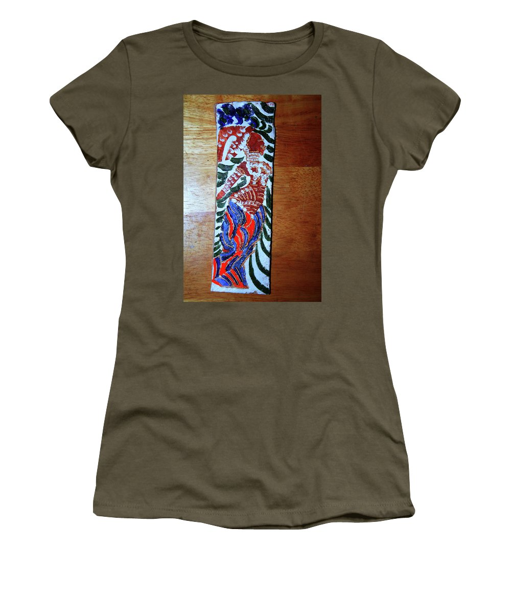 Jesus Elohimplaquesmamamama Africa Twojesus Women's T-Shirt featuring the ceramic art Ladies Await 6 by Gloria Ssali