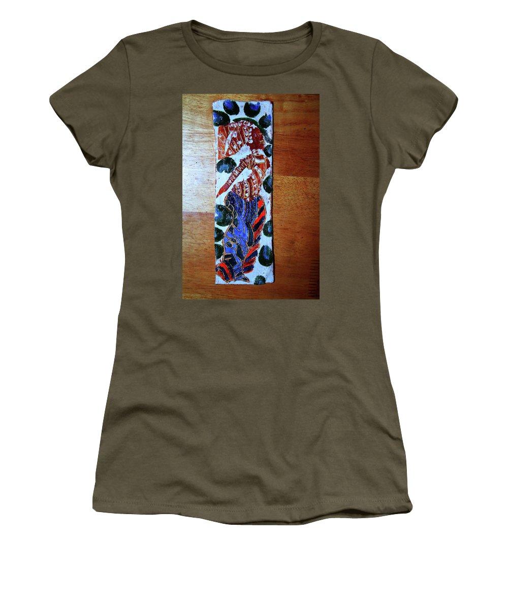 Jesus Elohimplaquesmamamama Africa Twojesus Women's T-Shirt (Athletic Fit) featuring the ceramic art Ladies Await 7 by Gloria Ssali