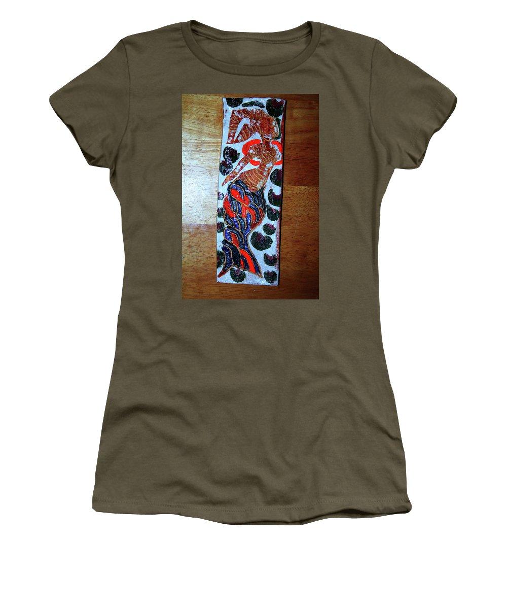 Jesus Elohimplaquesmamamama Africa Twojesus Women's T-Shirt (Athletic Fit) featuring the ceramic art Ladies Await 8 by Gloria Ssali
