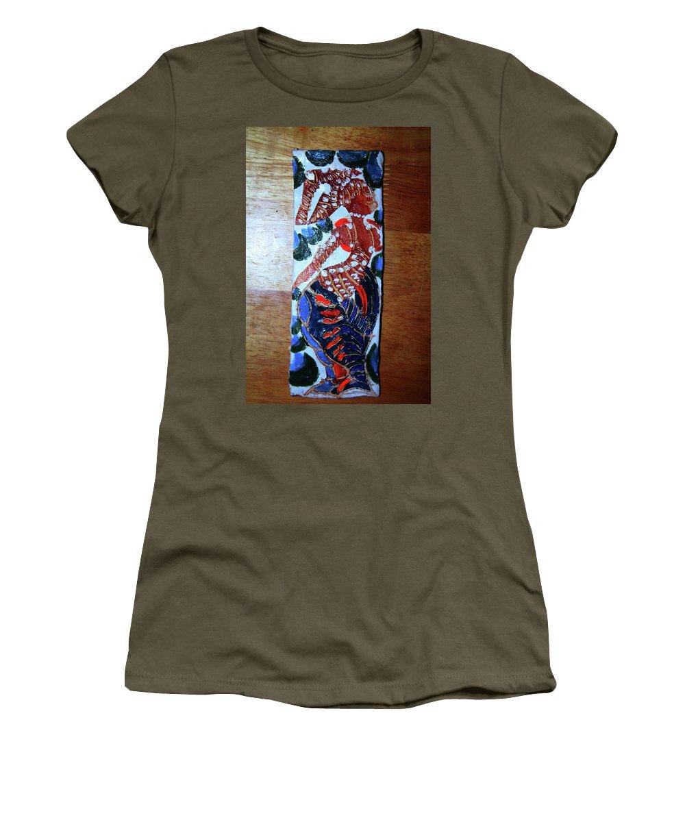 Jesus Elohimplaquesmamamama Africa Twojesus Women's T-Shirt (Athletic Fit) featuring the ceramic art Ladies Await 9 by Gloria Ssali