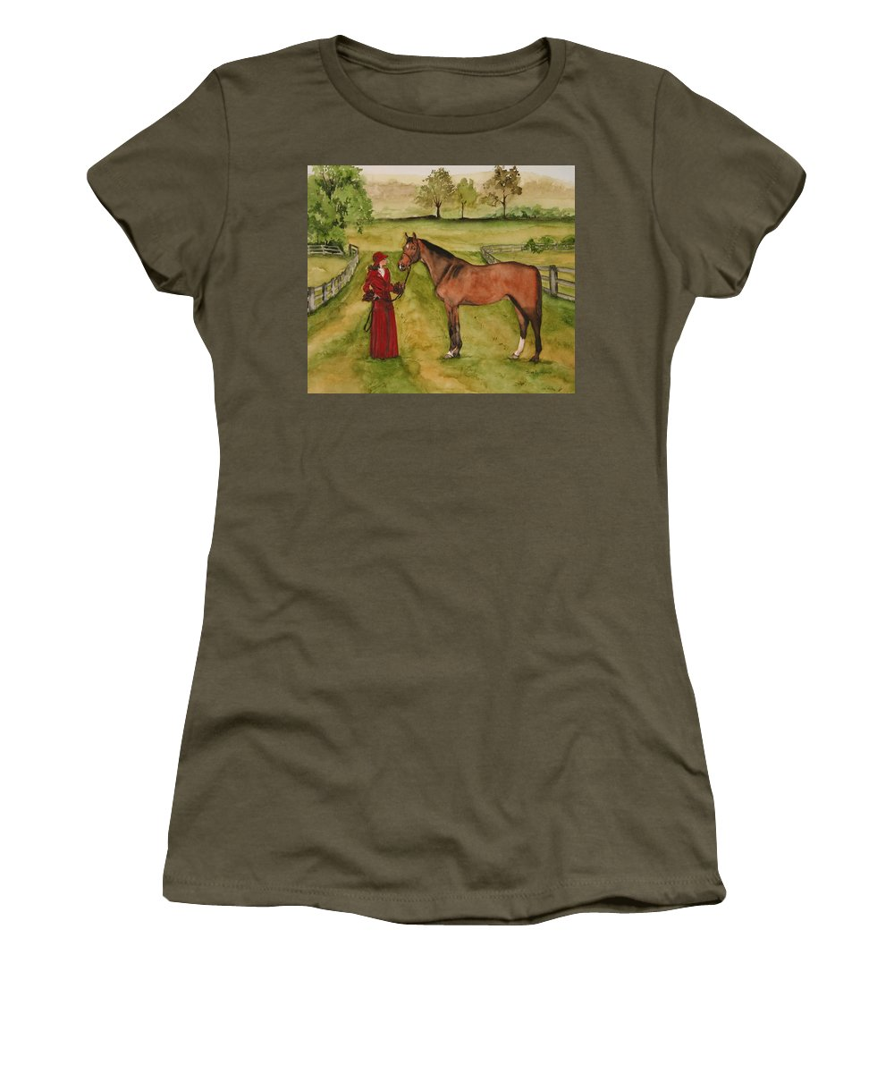 Horse Women's T-Shirt (Athletic Fit) featuring the painting Lady And Horse by Jean Blackmer