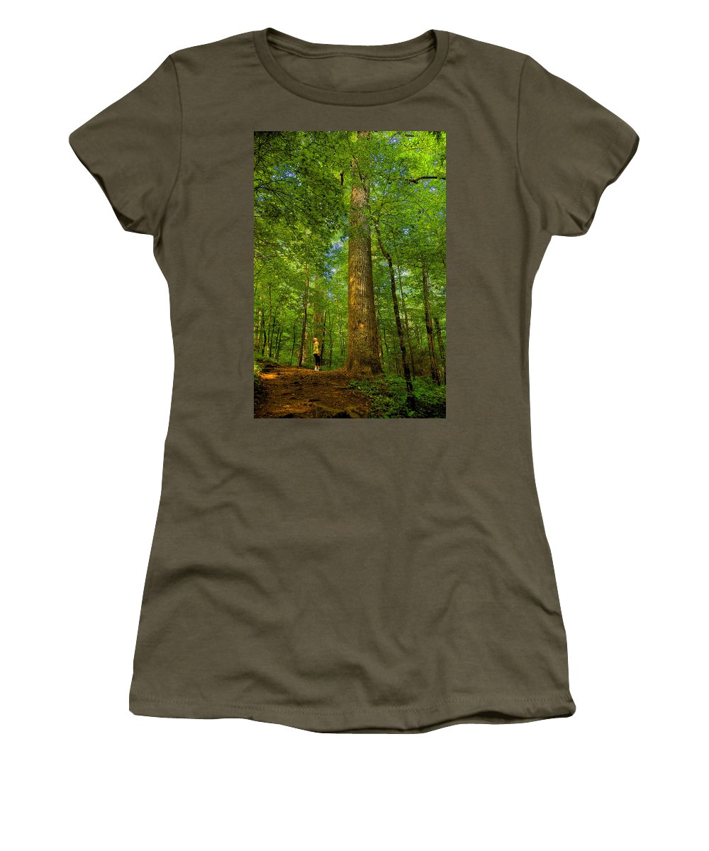 Forest Women's T-Shirt featuring the painting Lady And The Tree by David Lee Thompson