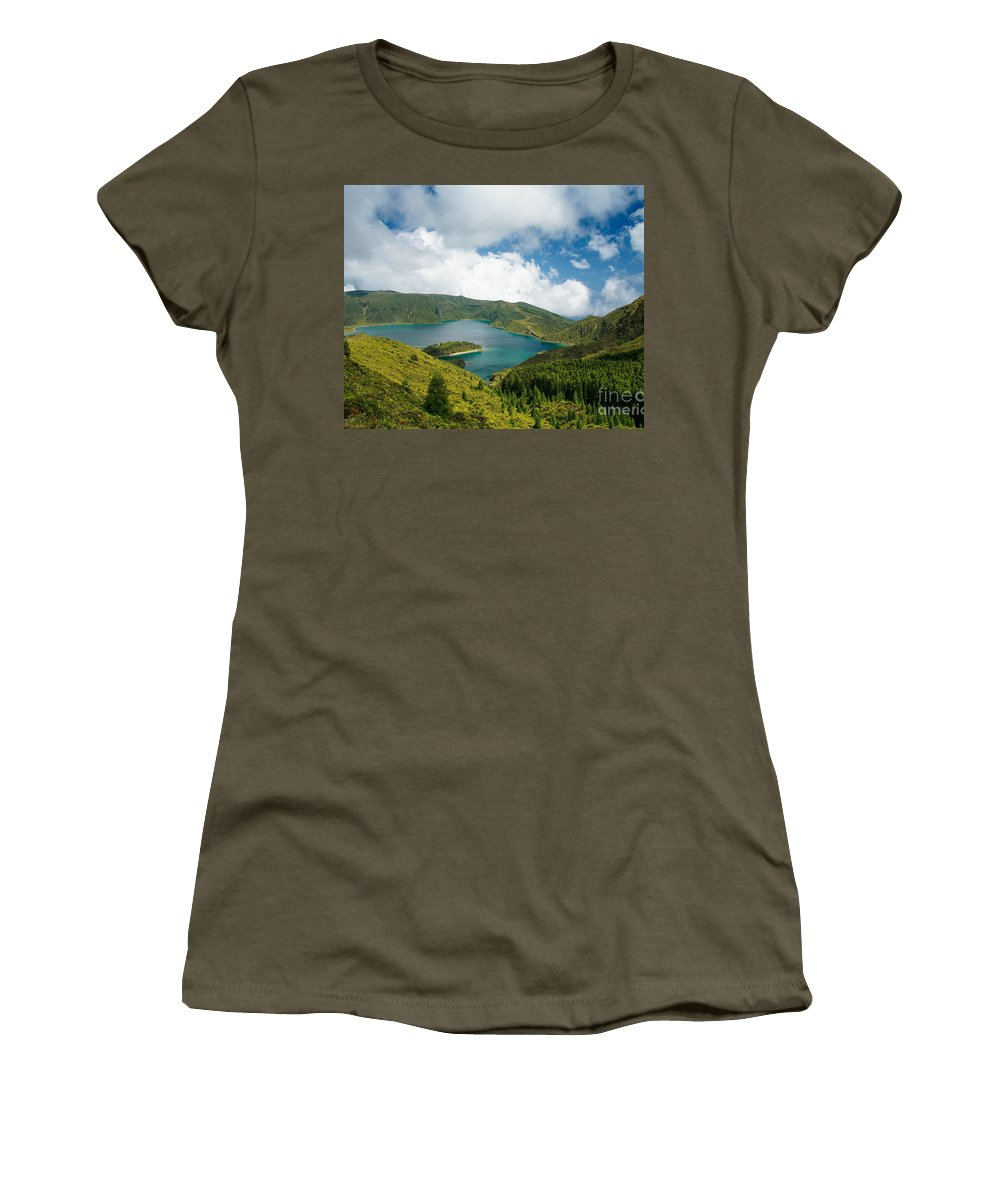 Lagoa Do Fogo Women's T-Shirt (Athletic Fit) featuring the photograph Lagoa Do Fogo by Gaspar Avila