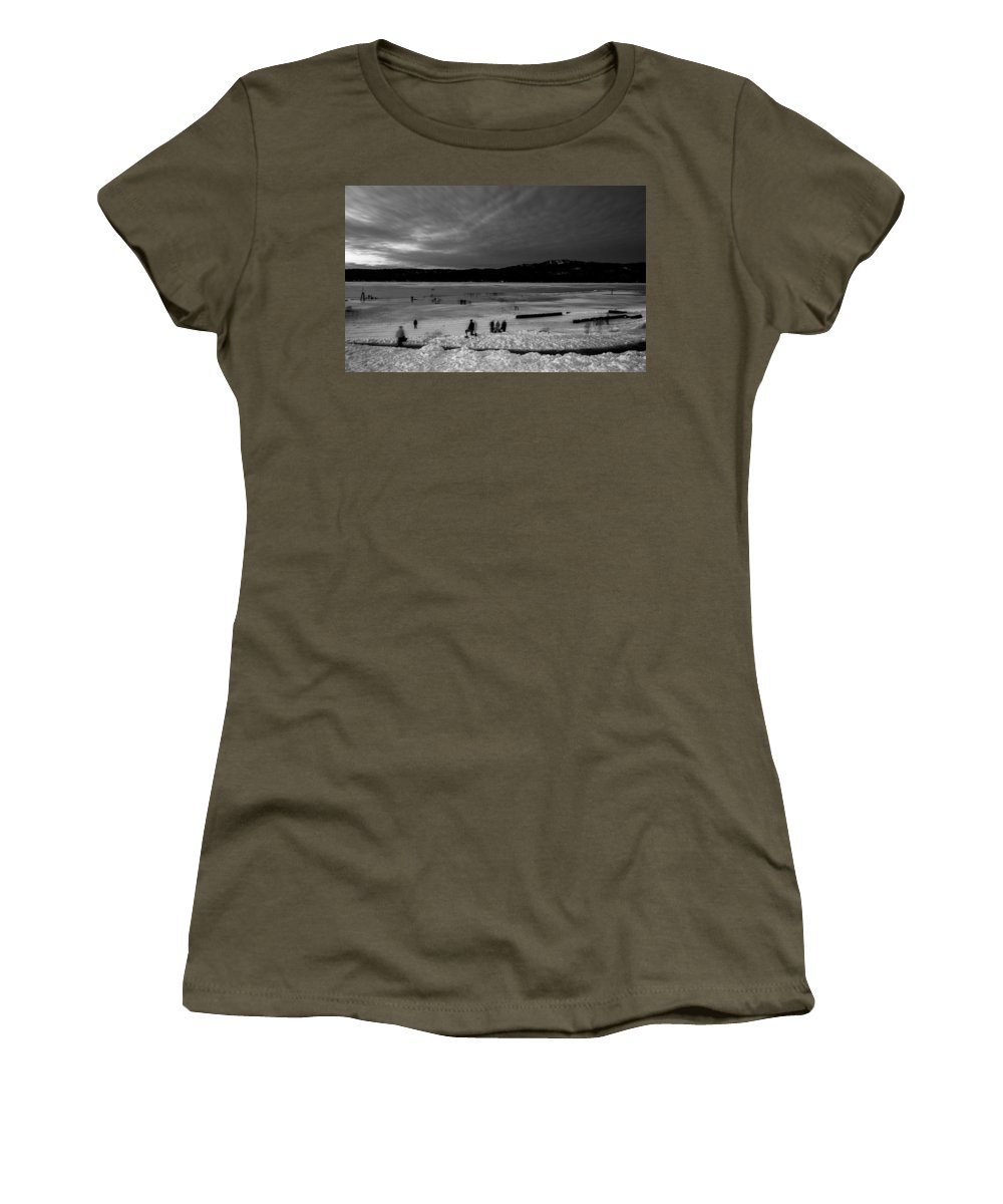 Mccall Women's T-Shirt (Athletic Fit) featuring the photograph Lake Bw by Angus Hooper Iii