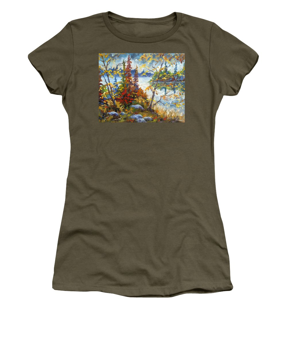 Trees Women's T-Shirt (Athletic Fit) featuring the painting Lake Cartier by Richard T Pranke
