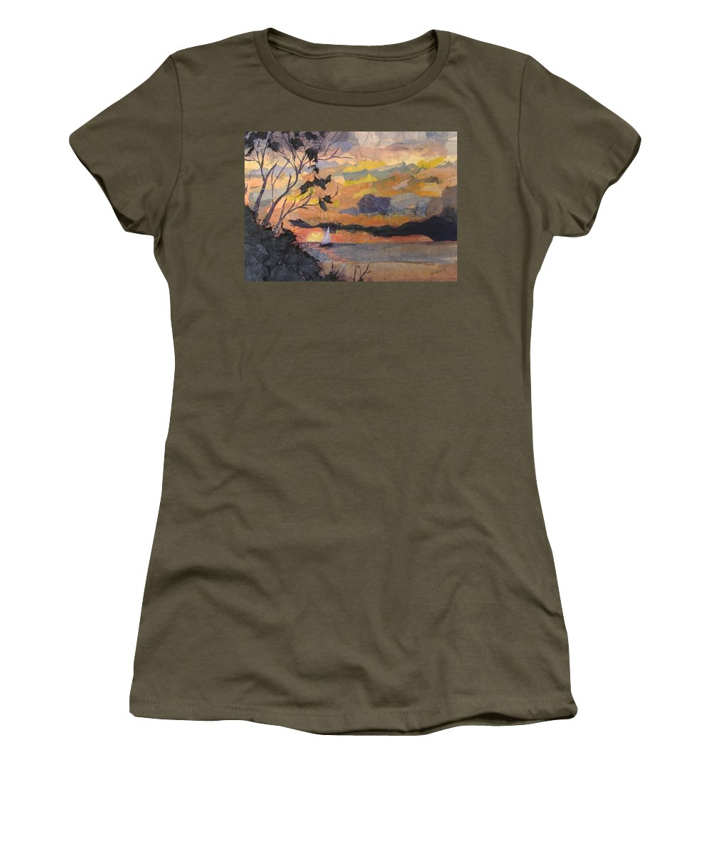 Seascape Women's T-Shirt featuring the mixed media Lake Erie Sunset by Pat Snook