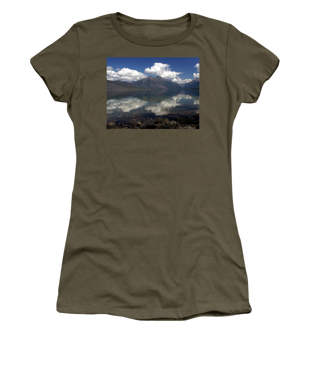 Glacier National Park Women's T-Shirt (Athletic Fit) featuring the photograph Lake Mcdonald Reflection Glacier National Park by Marty Koch