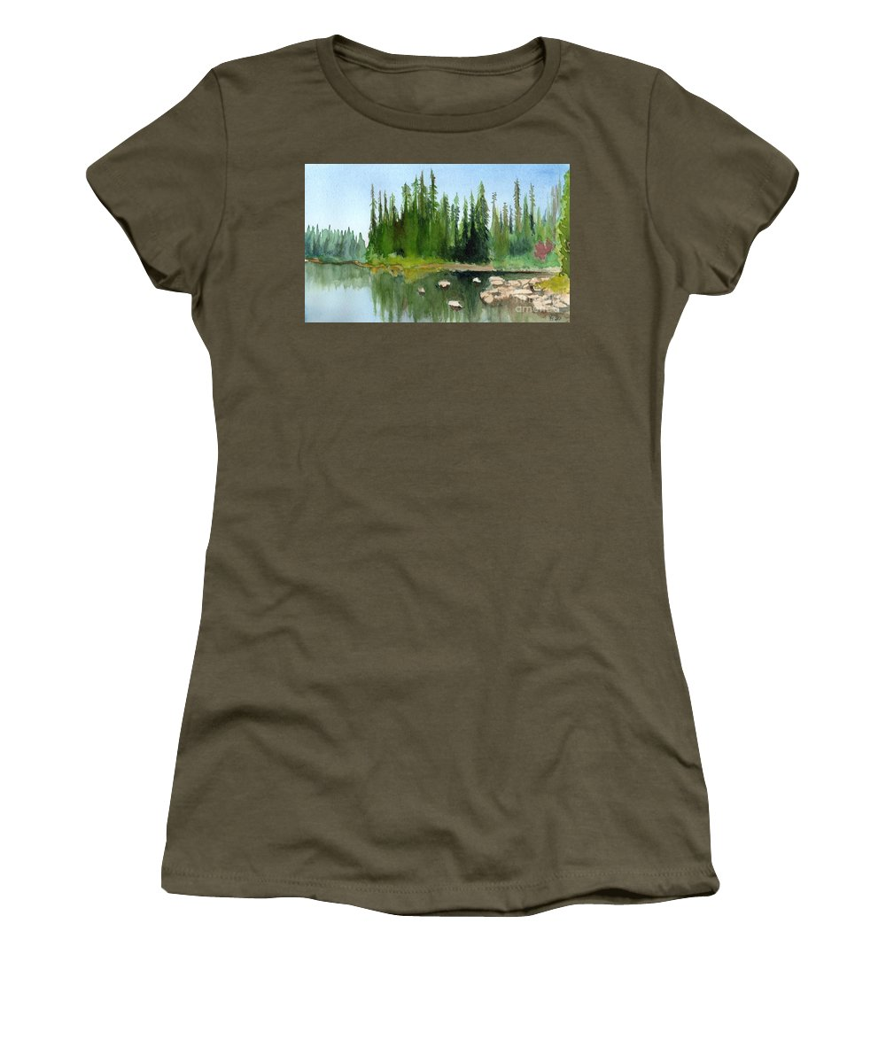Lake Women's T-Shirt (Athletic Fit) featuring the painting Lake View 1 by Yoshiko Mishina