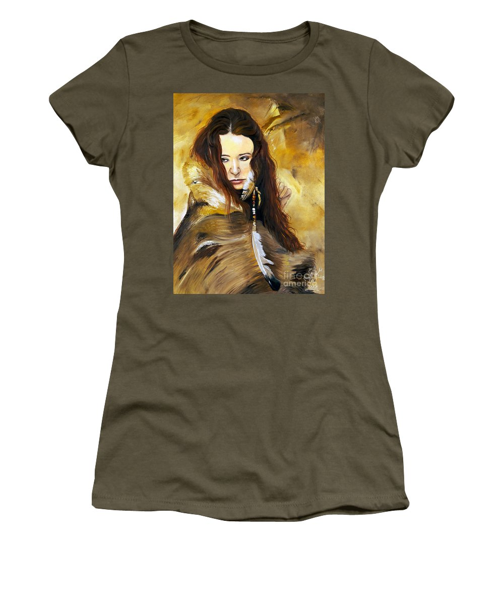Southwest Art Women's T-Shirt (Athletic Fit) featuring the painting Lament by J W Baker