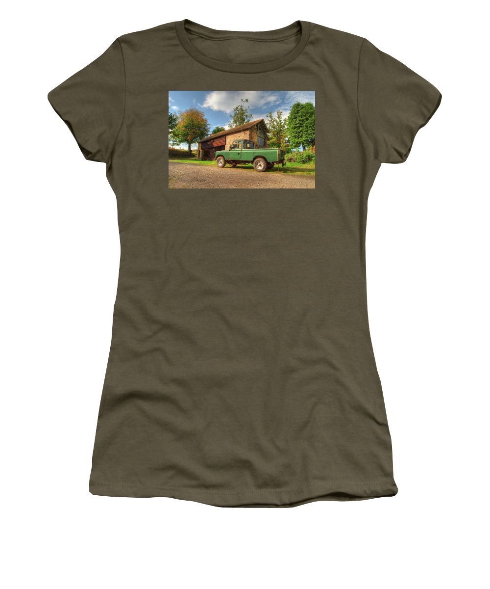 Landrover Women's T-Shirt (Athletic Fit) featuring the photograph Landrover And The Barn by Rob Hawkins