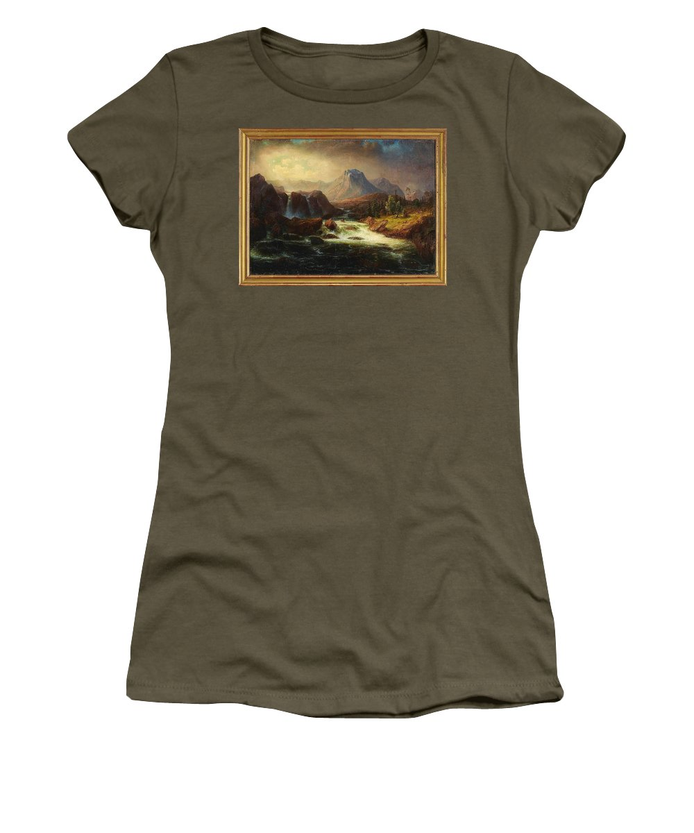 Marcus Larson 1825-1864 Landscape With Rapids Women's T-Shirt (Athletic Fit) featuring the painting Landscape by Marcus Larson