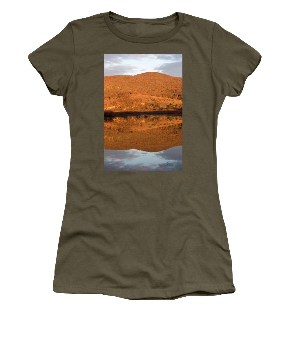 Travel Women's T-Shirt featuring the photograph Landscape Perfectly Reflected In Palsko Lake by Ian Middleton