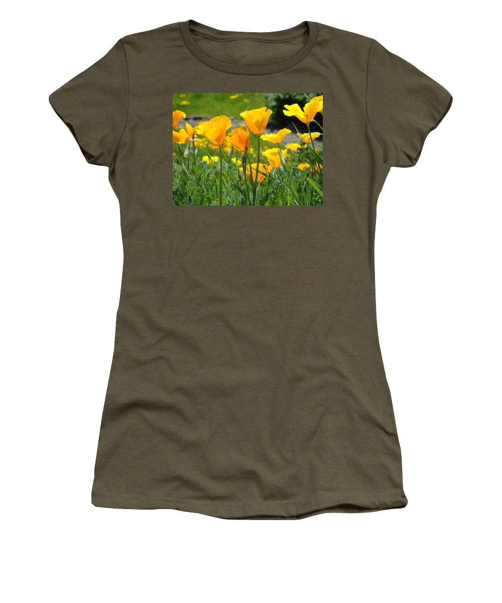 �poppies Artwork� Women's T-Shirt (Athletic Fit) featuring the photograph Landscape Poppy Flowers 5 Orange Poppies Hillside Meadow Art by Baslee Troutman